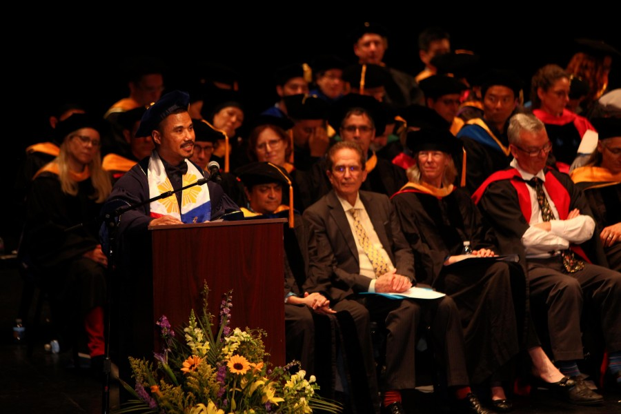 Armbien Sabillo Gives the Graduate Student Address at Commencement 2018