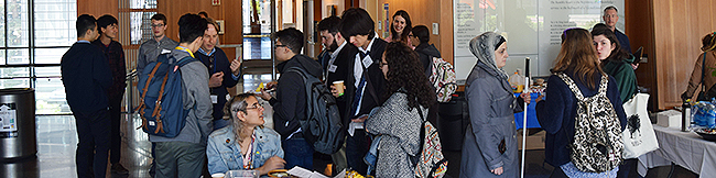 Conference participants networking