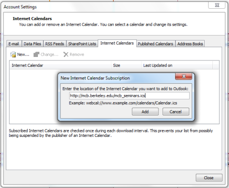 Outlook dialog